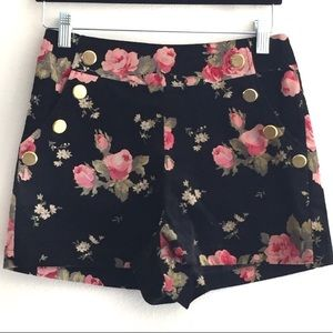 Ark & Co Moody Floral Velvet High-Waisted Shorts